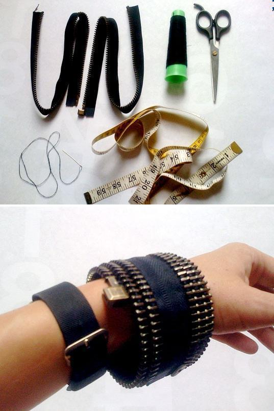 DIY: recycled zipper bracelet