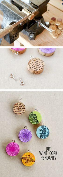 DIY Wine Cork Pendants DIY Projects
